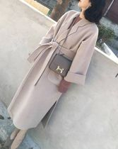 Casual Style Wool Plain Long Office Style Chester Coats