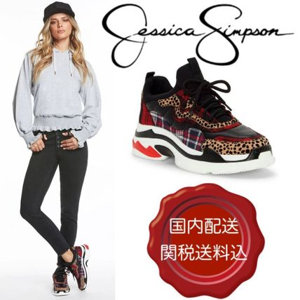 Leopard Patterns Platform Round Toe Lace-up Casual Style