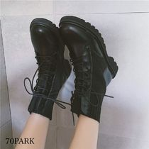 Platform Plain Toe Round Toe Lace-up Casual Style Suede