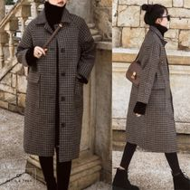 Stand Collar Coats Other Check Patterns Casual Style Medium