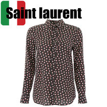 Saint Laurent Star Silk Long Sleeves Elegant Style Shirts & Blouses