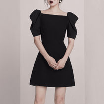Short A-line Sleeveless Puffed Sleeves U-Neck Long Sleeves