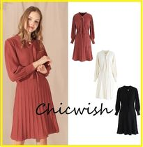 Chicwish Chicwish Simple Puffed Sleeves V-Neck Knit Dress