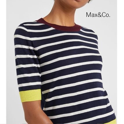 Crew Neck Stripes Casual Style Bi-color Cotton Short Sleeves