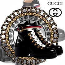 GUCCI Sylvie Platform Plain Toe Plain Leather Ankle & Booties Boots