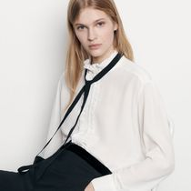 sandro Silk Long Sleeves Plain Party Style Office Style