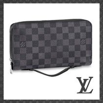 Louis Vuitton DAMIER GRAPHITE Other Check Patterns Unisex Bi-color Leather Long Wallets