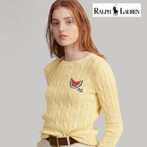 Ralph Lauren Crew Neck Cable Knit Casual Style Wool Silk Long Sleeves