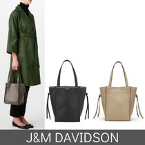J & M Davidson Belle Casual Style Studded Plain Leather Totes