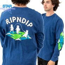 RIPNDIP Crew Neck Pullovers Unisex Street Style Long Sleeves Plain