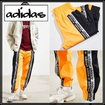 adidas Tapered Pants Stripes Nylon Street Style Bi-color Plain