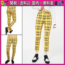 DOLLS KILL Other Check Patterns Casual Style Cotton Skinny Pants