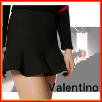 VALENTINO Short Wool Silk Plain Mini Skirts