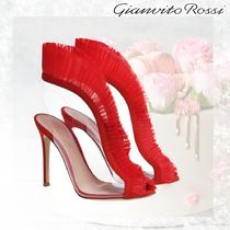 Gianvito Rossi Open Toe Suede Pin Heels Party Style Fringes PVC Clothing