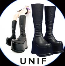 UNIF Clothing Platform Plain Toe Casual Style Plain Leather Elegant Style