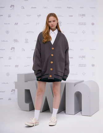 TWN Cardigans Pullovers Unisex Street Style Logos on the Sleeves Cardigans 8