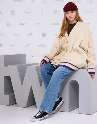 TWN Cardigans Pullovers Unisex Street Style Logos on the Sleeves Cardigans 11