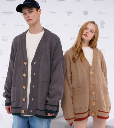 TWN Cardigans Pullovers Unisex Street Style Logos on the Sleeves Logo 6