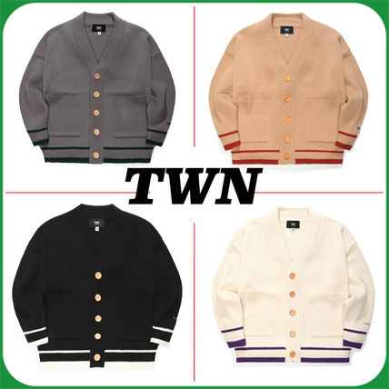 TWN Cardigans Pullovers Unisex Street Style Logos on the Sleeves Logo