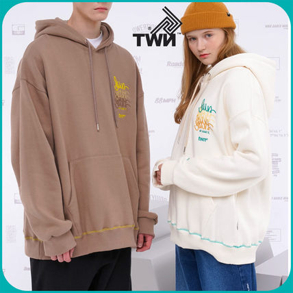 TWN Hoodies Pullovers Unisex Street Style Logos on the Sleeves Hoodies