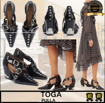 TOGA Casual Style Studded Plain Leather Block Heels Party Style