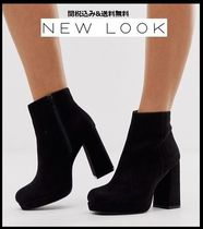 New Look Platform Casual Style Faux Fur Plain Ankle & Booties Boots