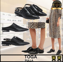 TOGA Casual Style Tassel Plain Leather Block Heels Party Style