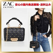 ZAC ZAC POSEN Studded 3WAY Chain Leather Elegant Style Shoulder Bags