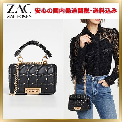 Studded 3WAY Chain Leather Elegant Style Shoulder Bags