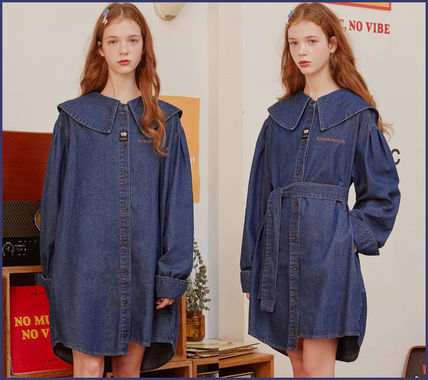 Casual Style Denim Street Style Long Sleeves Plain Cotton