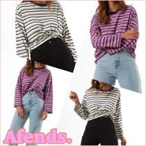 AFENDS Crew Neck Short Stripes Cotton Cropped