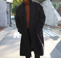 Wool Street Style Plain Long Chester Coats