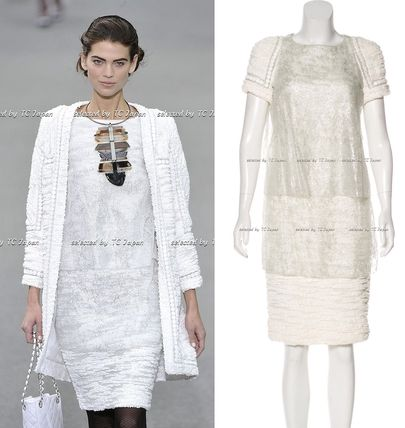 CHANEL TIMELESS CLASSICS CHANEL Ivory creme Metallic Silk Dress F36