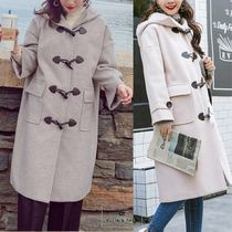 Casual Style Plain Medium Office Style Duffle Coats