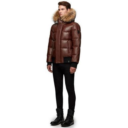 Short Fur Blended Fabrics Plain Leather Down Jackets