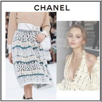 CHANEL Flared Skirts Wool Cashmere Blended Fabrics Medium