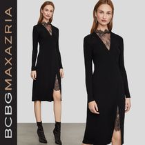 BCBG MAXAZRIA Long Sleeves Plain Medium Lace Elegant Style Dresses