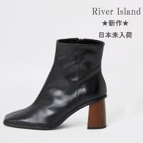River Island Plain Leather Block Heels High Heel Boots