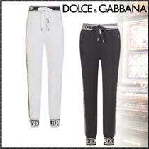 Dolce & Gabbana Stripes Casual Style Sweat Plain Cotton Long Sweatpants
