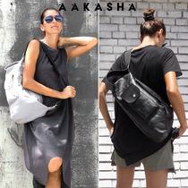 Aakasha Casual Style Unisex 3WAY Plain Leather Handmade