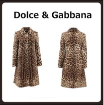 Dolce & Gabbana Stand Collar Coats Leopard Patterns Casual Style