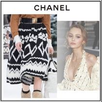 CHANEL Flared Skirts Wool Blended Fabrics Medium Elegant Style