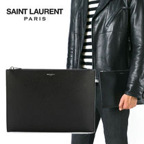 Saint Laurent Unisex Plain Leather Clutches