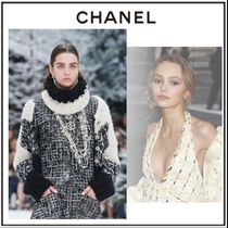 CHANEL Cashmere Silk Blended Fabrics Bi-color Plain Elegant Style