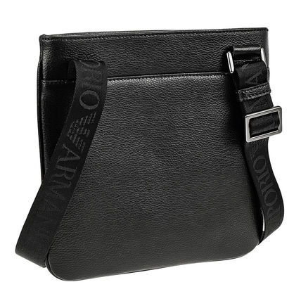 Small Shoulder Bag Logo Unisex 2WAY Plain Leather