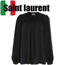 Saint Laurent Silk Long Sleeves Elegant Style Shirts & Blouses