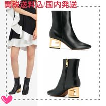 GIVENCHY Plain Leather Block Heels Elegant Style Logo