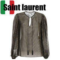 Saint Laurent Stripes Silk Long Sleeves Elegant Style Shirts & Blouses