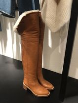 CELINE Plain Leather Chunky Heels Over-the-Knee Boots