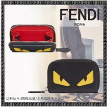 FENDI BAG BUGS Unisex Calfskin Street Style Bi-color Plain Coin Cases